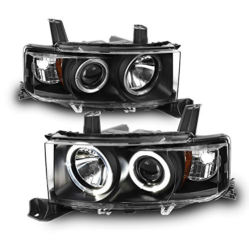 For Scion XB BB Black Bezel Dual Halo Projector Headlights Front Driver/Passenger Replacement Lamps