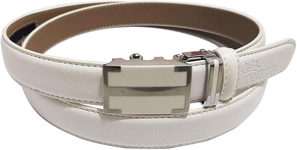 MONETTI FIA Ceinture en cuir blanc pour femme en cuir v/éritable avec boucle automatique Longueur 115 cm Tr/ès facile /à raccourcir Largeur 2,5 cm