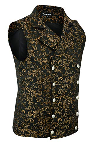 Designer Waistcoats - Premium Quality Stylish Designer Mens Damask Tapestry Double-Breasted Vest Waistcoat Gothic Aristocrat Steampunk Victorian Vest (Large, Gold)