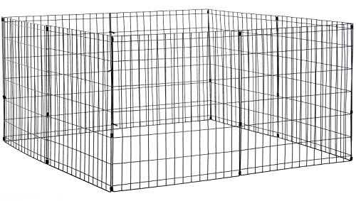 BestPet Pet Playpen Dog Fence Exercise Pen Metal Wire Portable Dog Crate Kennel Cage Black,24/30/36/42/48 Inches