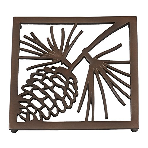 (DII Non-Slip Pinecone Trivet with Rubber Pegs/Feet, 8x8
