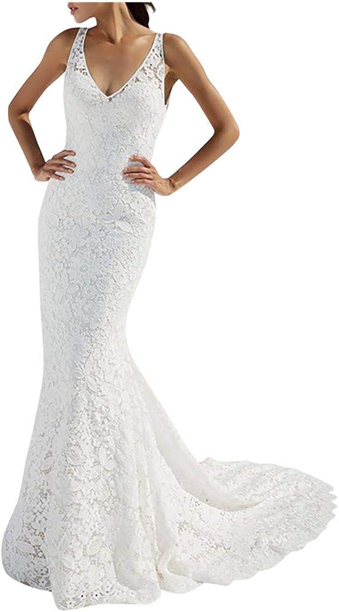 Goosuny Elegante Kleider Damen Braut Brautjungfer Abendkleider Lang Mode  Spitze Rückenfrei Tiefem V-Ausschnitt Ärmelloses Kleid Hochzeit Fotografie