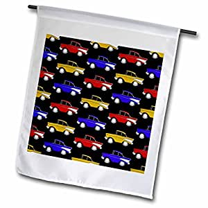 Mark Grace CARTOON CAR PATTERNS 1957 chevs - 1957 cartoon chev pattern, rich colors on a black background - 18 x 27 inch Garden Flag (fl_81043_2)