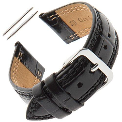 Gilden 16-20mm Unisex Shiny Stitched Padded Gator-Grain Calfskin Watch Strap LS30 (18 Millimeter end Width, Black) ()