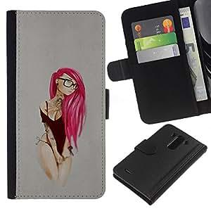 """A-type (Pink Emo Hair"""") Colorida Impresión Funda Cuero Monedero Caja Bolsa Cubierta Caja Piel Card Slots Para LG G3"""