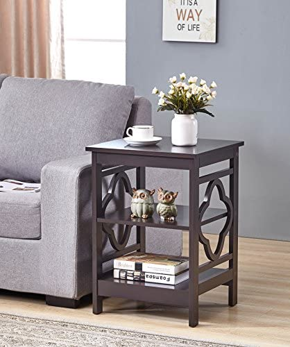 Espresso Finish Wooden Quatrefoil Design Chair Side End Table with 3-Tier Shelf