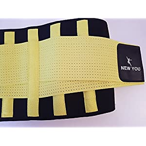 NEW YOU Waist Trainer - Body Shaper - for Weight Loss and Lumbar Support - Sweat Belt with Sauna Suit Effect - Slimming belt - for Women and Men (Yellow, Small)