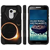 [Mobiflare] Dual Layer Armor Case [Kickstand] for Alcatel REVVL /Alcatel Walters / Alcatel A30 Fierce [2017] [Black/Black] Mil-Spec - [Solar Eclipse]