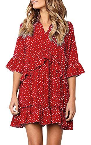 ECOWISH Women's Dresses V Neck Ruffle Polka Dot Casual Loose Swing T-Shirt Mini Dress Red L