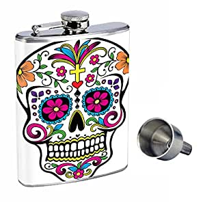 Sugar Skull Perfection In Style 8oz Stainless Steel Whiskey Flask with Free Funnel D-006