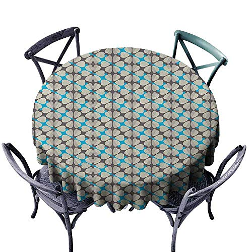 Mannwarehouse Floral Dustproof Tablecloth Diagonal Blue Diamond Shapes with Abstract Pale Color Daisy Motifs Easy Care D47 Umber Beige and Sky Blue