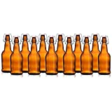 HomeBrew Heavy Duty Glass 16 oz Amber Beer Bottles with EZ Caps Reusable Environmentally Friendly for Beer Kombucha Cider Kefir (Set of 12)