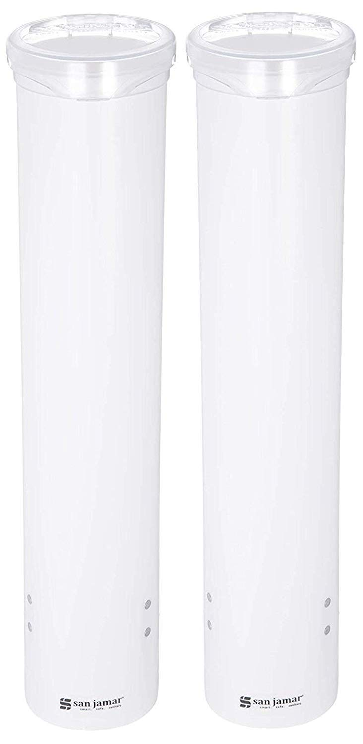 San Jamar C4160WH Small Pull-Type Water Cup Dispenser, Fits 3 to 4-1/2 oz Cone Cups and 3 to 5 oz Flat Bottom Cups, White (Тwo Рack)