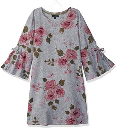 My Michelle Girls' Big Bell Sleeve with Tie Dress, Heather Grey, 7 (Michelle Clothes My)