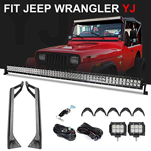 """- Racbox 288W 50 Inch Off road Straight LED Light Bar + 2 x 4"""" LED Pods Light + Upper Windshield Mount Brackets with Wiring Harness Kit for Jeep Wrangler YJ 1987-1995"""