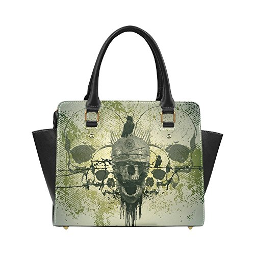 InterestPrint Custom Classic Shoulder Handbag Skull With Crow Shoulder Bag For Women