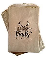 Kraft paper rustic treat bags, trail mix favor bags, candy buffet bags, gift bags made out of 100% recycled paper, antler, woodland design 24 ctHappy Trails favor bags
