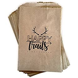 "Kraft paper rustic treat bags, trail mix favor bags, candy buffet bags, gift bags made out of 100% recycled paper, antler, woodland design 24 ct""Happy Trails"" favor bags"