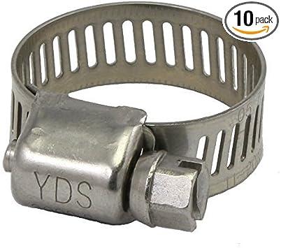 7//16 to 25//32 Diameter Range SAE 6 Miniature SS Hose Clamp 10EA