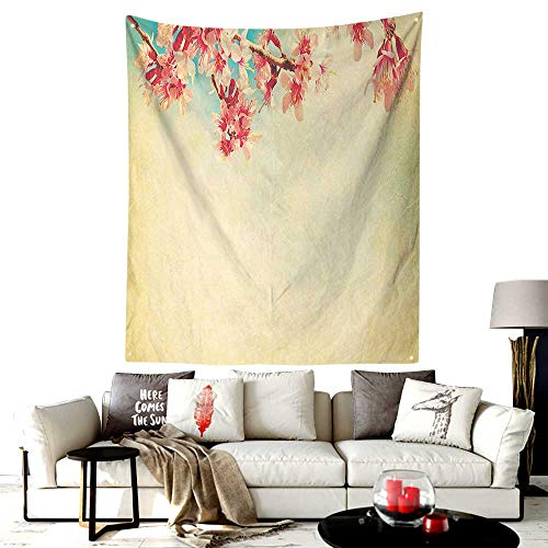 Custom Pattern Garnet Tapestry,Spring Sakura Flower On Sun Sky Vintage Color Toned Abstract Nature Theme Home,Wall Hanging for Restaurant Decoration,54W X 84L Inches Beige Pink Teal