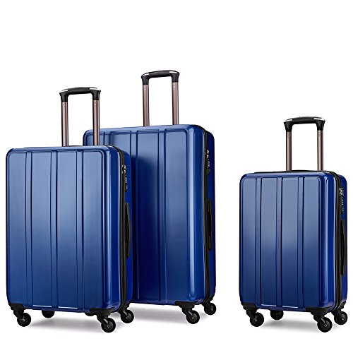 Luggage Set Suitcase Set Hard Shell Luggage Lightweight Luggage Spinner Luggage Set – 3 Piece with TSA lock PC+ABS Waterproof with Hanger(20″ 24″ 28″)