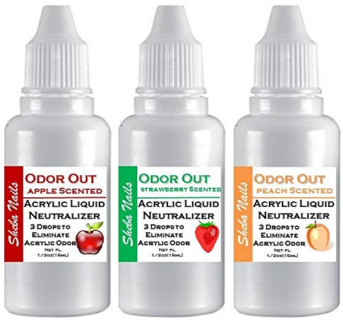 SHEBA NAILS Odor Out Acrylic Liquid Nuetralizer - Fruity Scents Trio - 1/2oz (15ml) each Strawberry, Apple and Peach Scents ()