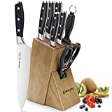 Emojoy 8PC Kitchen Knife Set w/ Wood Block German Stainless Steel Deal (Small Image)