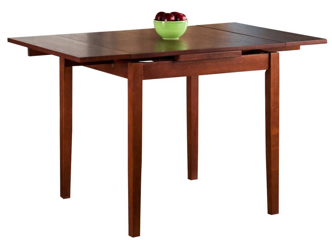 Wood Extendable Dining Table - Dining Table with 2 Self-Storing Leaves - Walnut