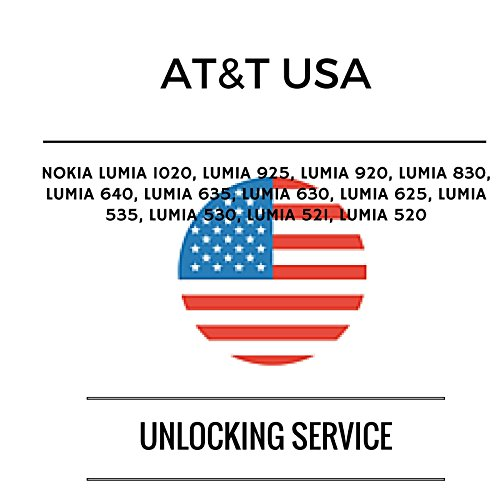 AT&T USA Unlocking Service for NOKIA: Lumia 1020, Lumia 925, Lumia 920, Lumia 830, Lumia 640, Lumia 635, Lumia 630, Lumia 625, Lumia 535, Lumia 530, Lumia 521, Lumia 520 this service does not support iPhones. Permanently unlock your mobile device for use on compatible GSM networks worldwide.