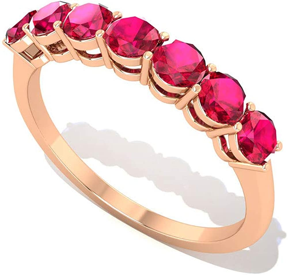 Full Eternity Ruby Stacking Ring Vintage Rose Gold Red Gemstone Ring July Birthstone Ring Matching Ring Band Natural Ruby Wedding Band