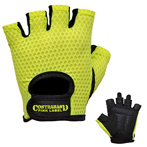 (Contraband Pink Label 5307 Womens Design Series Diamond Mesh Lifting Gloves (Pair) - Lightweight Vegan Medium Padded Microfiber Amara Leather w/Griplock Silicone (Green, Small))