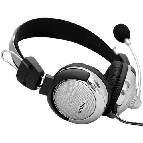 Frisby Super Bass Computer Headphone Microphone Combo with In-line Volume Control