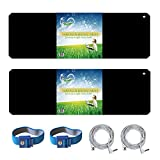 LandKissing Soft Mat For Grounding - Classic Black 26''x10'' - Deluxe Set Includes Two Mat, Two Grounding Cords And Two Wrist Bands