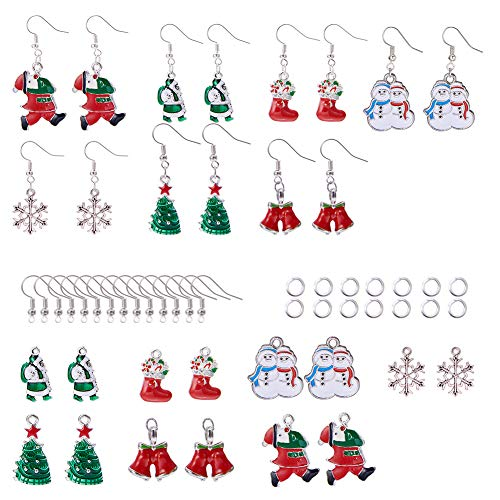 SUNNYCLUE Christmas Dangle Earrings Making Starter Kit - DIY 7 Pairs Red Santa Claus Stockings White Snowman Xmas Tree Snowflake Jingle Bells Earrings Thanksgiving Themed Gift for Women Girls ()