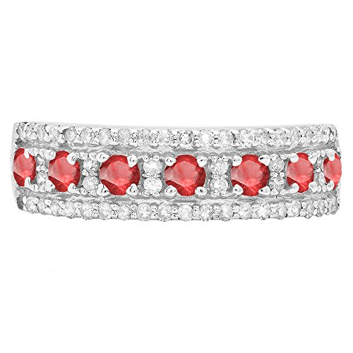 Ruby & White Diamond Ladies Wedding Band (Size 7) (Ruby Diamond Wedding Band)