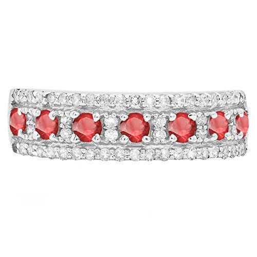 14K White Gold Round Ruby & White Diamond Ladies Wedding Band (Size - Wedding Ruby Bands Gold White