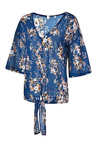 Mousseline Top Haut Chemisier Femme V Blouse Shirt Florale Soie Bleu Col de en t x7EwBwX