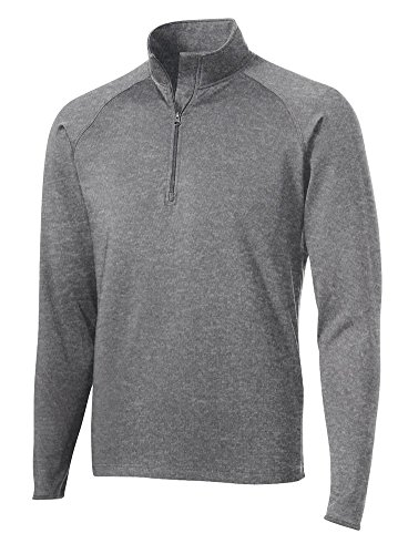 - Dri-Equip Moisture Wick Stretch 1/2-Zip Pullover Sweatshirt-2XL-CharcoalGryHthr