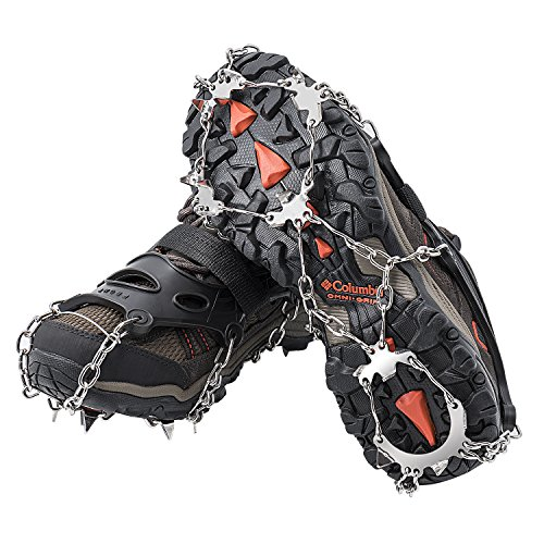 AUHIKE 18 Teeth Anti-Slip Ice & Snow Cleat Traction Cleats Grippers Crampons for Walking on Snow and Ice Safe Protect