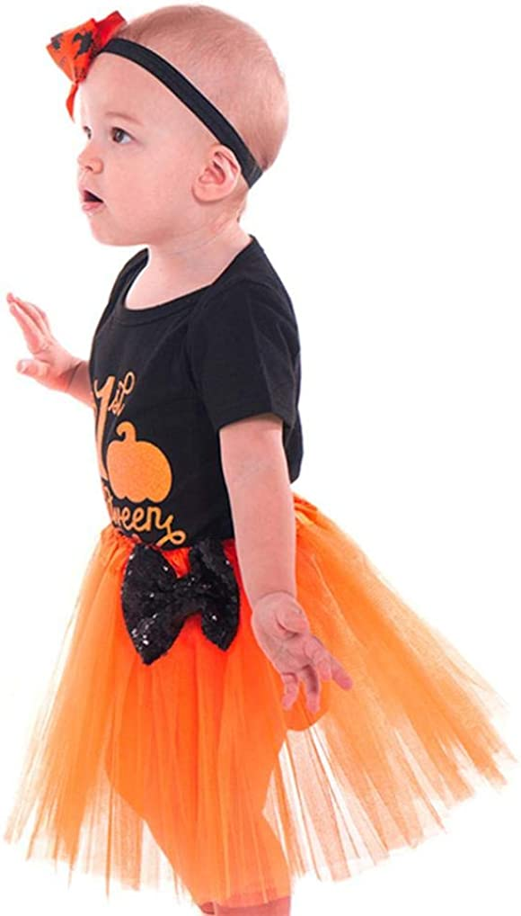 Halloween Kid Outfits,Fineser Infant Toddler Baby Girls Letter Romper Jumpsuit Skirt Halloween Costume Outfits Dresses 2 Sets