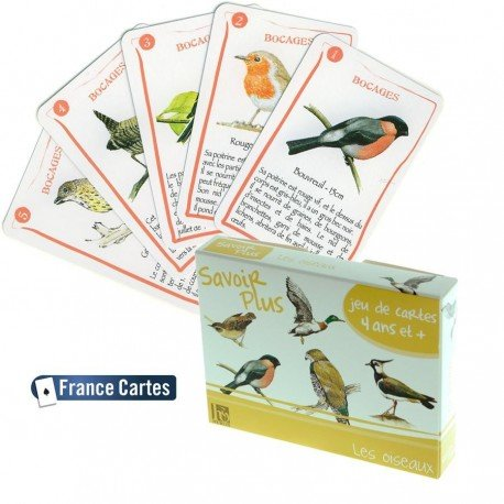 Savoir + - Jeu de cartes 7 familles Savoir Les oiseaux Enfants 6 ans +
