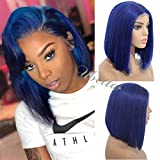 Short Bob Wig Blue 13 X6 Deep Part Human Hair Lace Front Wig Pre Plucked with Baby Hair 150% Density Glueless Straight Brazilian Remy Colored Bob Haircut Wig 8 Inch for Black Women