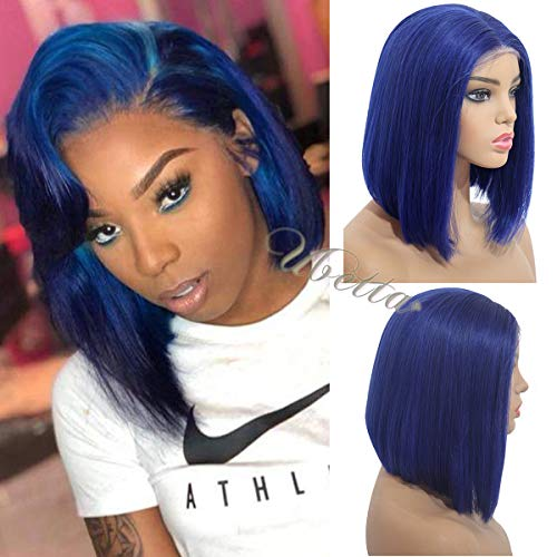 Short Bob Wig Blue 13 X6 Deep Part Human Hair Lace Front Wig Pre Plucked with Baby Hair 150% Density Glueless Straight Brazilian Remy Colored Bob Haircut Wig 8 Inch for Black Women (Best Short Haircuts For Black Hair)