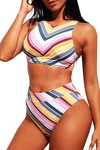 Stripe Tank Swimsuit - Asyoly Women Sexy Colorful Stripes Tank Top High Waist Bottom Two Pieces Bikini Sets Bathing Suits Swimsuits Swimwear