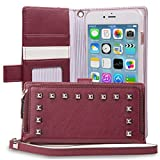 iPhone 7 Plus Case, TORU [ZIP WALLET] iPhone 7 Plus Wallet Case with [CARD SLOT] [ZIPPER POUCH] [WRISTLET][METAL STUDS] Premium Leather Flip Cover Case with Strap for iPhone 7 Plus - Burgundy