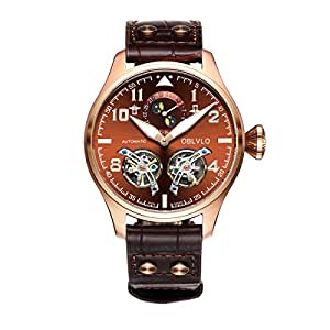 OBLVLO Mens Military Watches Rose Gold Moon Phase Tourbillon Automatic Watches OBL8232 (NOBL8232-PSS)
