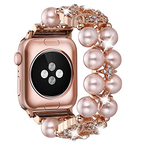 Ritastar Apple Watch Band Bracelet 42mm 44mm,Bling Sparkling Rhinestone Iwatch Replacement Jewelry Wristband,Handmade Elastic Bands with Pearl,Diamond,Beads&Metal for Iwatch Series 4/3/2/1,Roe Gold (Sparkling Bracelet Diamonds)