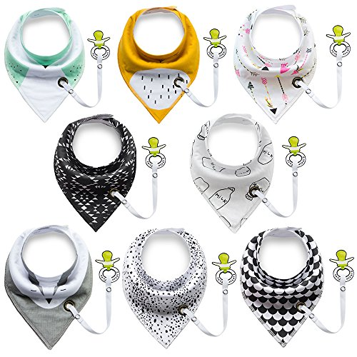 Baby Bandana Drool Bibs with Pacifier Clip, EocuSun Unisex 8-Pack Gift Set for Drooling and Teething, 100% Organic Cotton Soft and Absorbent Bib Set for Boys and Girls, Baby Pacifiers Not Included