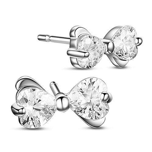 SWEETIEE-Clous d'Oreilles en 925 Argent, Boucles d'Oreilles Bowknot Noeud a Deux Boucles avec Zircons, Platine, 10x5mm