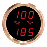 VEI Systems Dual-Display gauge: 100 PSI oil pressure and 320 deg-F oil temperature (red/silver)